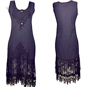 Cache Vintage Knit Dress with Beads and Crochet